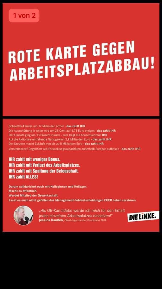 Rote Karte gegen Arbeitsplatzabbau